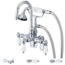 Water Creation F6-0011-01 Vintage Classic Adjustable Spread Wall Mount Tub Faucet With Gooseneck Spout, Swivel Wall Connector & Handheld Shower