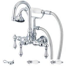 "Water Creation F6-0012-01 Vintage Classic 3-3/8"" Center Wall Mount Tub Faucet With Gooseneck Spout, Straight Wall Connector & Handheld Shower"