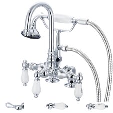 "Water Creation F6-0013-01 Vintage Classic 3-3/8"" Center Deck Mount Tub Faucet With Gooseneck Spout, 2"" Risers & Handheld Shower"