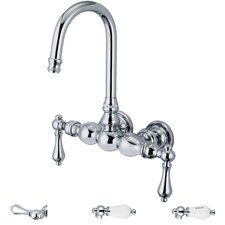 <strong>Water Creation</strong> Vintage Classic Double Handle Wall Mount Tub Faucet with Gooseneck Spout