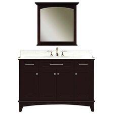 """Water Creation Manhattan 48C 48"""" Dark Espresso Single Sink Bathroom Vanity And Manhattan-M-3030 Matching Mirror"""