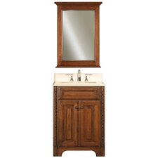 "Water Creation Spain 24B 24"" Golden Straw Single Sink Bathroom Vanity and Spain-M-2130 Matching Mirror"