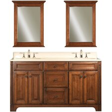 "Water Creation Spain 60C 60"" Golden Straw Double Sink Bathroom Vanity And Two Spain-M-2130 Matching Mirrors"