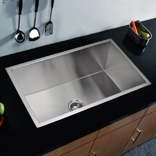 "Water Creation SS-U-3319A 33"" X 19"" Zero Radius Single Bowl Stainless Steel Hand Made Undermount Kitchen Sink"