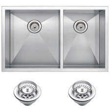 "33"" X 20"" Double Bowl Kitchen Sink"