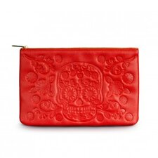 Embossed Sugar Skull Clutch Bag