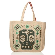Aztec Burlap Reversible Tote Bag