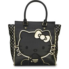 Hello Kitty Embossed Stripe Double Handle Tote Bag