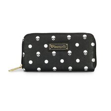 <strong>Loungefly</strong> Skull Polka Dot Zip Around Wallet