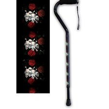 Skulls and Roses Offset Single Point Cane