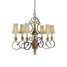 "37"" 6 Light Chandelier in Habana Night with Gold Highlights"