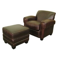 <strong>Hokku Designs</strong> Paris Classic Leather Chair and Ottoman