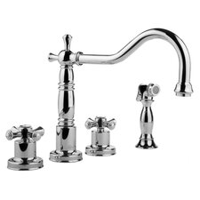 Pesaro Double Handle Widespread Kitchen Faucet with Side Spray