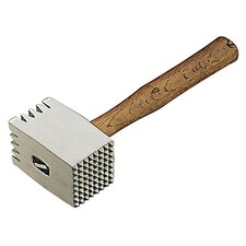 Meat Tenderizer with Wood Handle in Aluminium