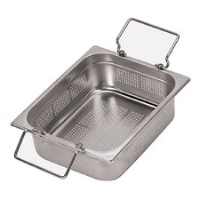12.5 x 10.5 Inch Stainless-Steel Perforated Hotel Pan with Folding Handles