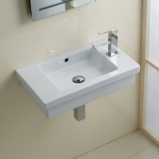 Area Boutique Logic 60 Semi-Recessed Porcelain Bathroom Sink with Overflow
