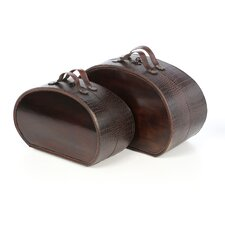 Decorative Box Set in Brown Alligator (Set of 2)