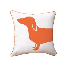 Hot Dog Happy Solid Reversible Throw Pillow