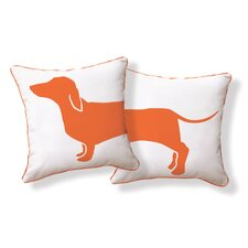 Hot Dog Happy Solid Reversible Pillow