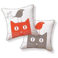 <strong>Naked Decor</strong> Cat and Bird Double Sided Cotton Pillow