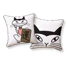 Japanese Lucky Cat Double Sided Cotton Pillow