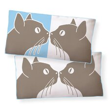 <strong>Naked Decor</strong> Kissing Cats Double Sided Cotton Pillow