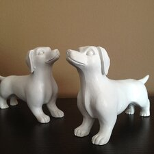 2 Piece Modern Mini Dachshund Figurine Set