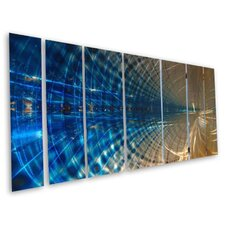 "<strong>All My Walls</strong> Abstract by Ash Carl 3 Dimensional Metal Wall Art in Blue- 23.5"" x 60"""