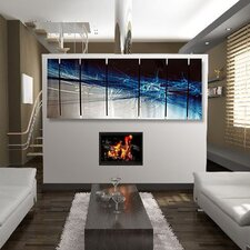 "Abstract by Ash Carl Metal Wall Art in Blue and Black - 23.5"" x 60"""