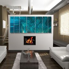 "<strong>All My Walls</strong> Abstract  by Ash Carl Metal Wall Art in Turquoise - 23.5"" x 60"""