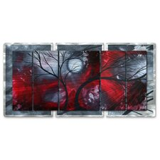 'Crimson Night II' by Megan Duncanson Original Painting on Metal Plaque