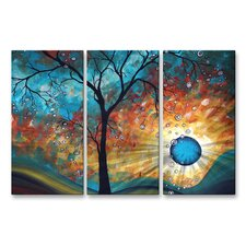'Burn' by Megan Duncanson 3 Piece Original Painting on Metal Plaque Set