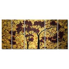 'Sweet Blossoms' by Megan Duncanson 5 Piece Original Painting on Metal Plaque Set