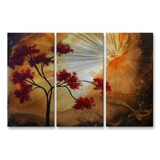 'Empty Nest' by Megan Duncanson 3 Piece Original Painting on Metal Plaque Set