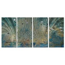 'On The Beach III' by Megan Duncanso 4 Piece Original Painting on Metal Plaque