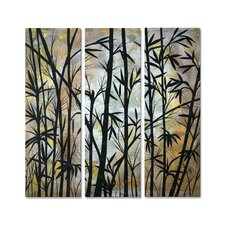 'Bamboo Shoots' by Megan Duncanso 3 Piece Original Painting on Metal Plaque