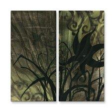 'Natures Whimsy VI' by Megan Duncanson 2 Piece Original Painting on Metal Plaque Set