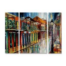 'French Quarter Rain AC' by Diane Millsap 3 Piece Original Painting on Metal Plaque Set