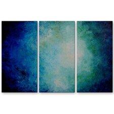 'Deep Blue Sea' by Michael Grubb 3 Piece Original Painting on Metal Plaque Set