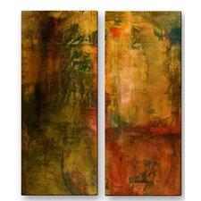 'Botany' by Laura Warburton 2 Piece Original Painting on Metal Plaque Set