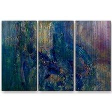 'Ocean Walk' by Laura Warburton 3 Piece Original Painting on Metal Plaque Set