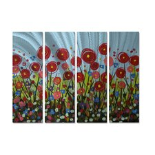 'Poppy Field' by Danlye Jones 4 Piece Original Painting on Metal Plaque Set