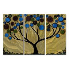Blue Swirl Tree Metal Wall Art