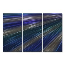 Blue Rays Of Light IV Metal Wall Hanging