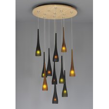 <strong>LBL Lighting</strong> Fusion Jack Eleven Port Wood Round Canopy in Satin Nickel