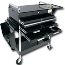 Dlx Service Cart W/Lockign Top 4-Drawers Black