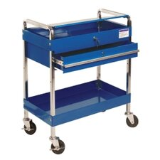 Service Cart W/Locking Top & Drawer Blue