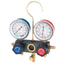 Dual Manifold Gauge Set with Manual Service Couplers
