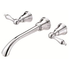 Fairmont Wall Mounted Bathroom Sink Faucet with Double Lever Handles