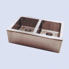 "Apron 33"" x 20"" Double Extra Deep Bowl Kitchen Sink"